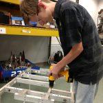 Mechanical dismantling an old robot